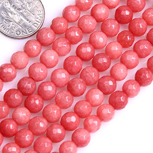GEM-inside Pink Jade Gemstone Loose Beads Energy Power Beads For Jewelry Making 6mm Round Faceted 15 Inches