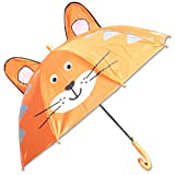 Toddler Little Kid Boys or Girls Cute Zoo Pop-up Cartoon Umbrella Come with Whistle , Orange Cat
