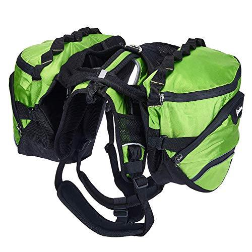 PETTOM Dog Hiking Harness Backpack Pet Adjustable Removable Saddle Bag Waterproof Walking Camping Packs for Medium Large Dogs
