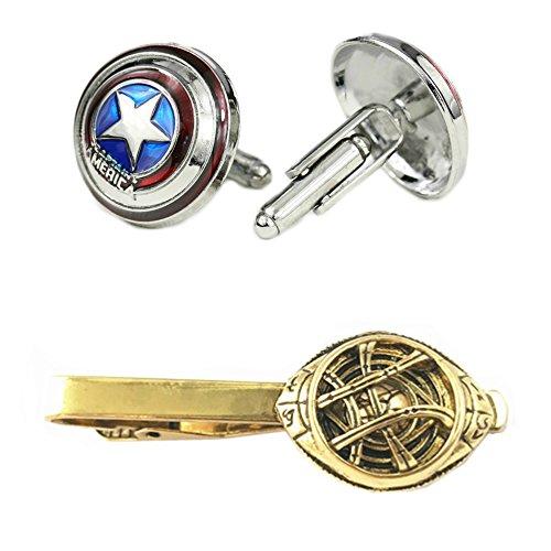 Outlander Captain America Cufflink & Dr. Strange Tiebar - New 2018 Marvel Studios Superhero Movies - Set of 2 Wedding Logo w/Gift Box by Outlander
