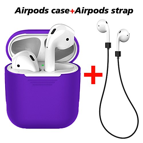 LabelBro Airpods Case AirPods Protective Silicone Cover with Anti-Lost Silicone Airpods Strap for Apple Airpods Charging Shock Proof Case (Purple)