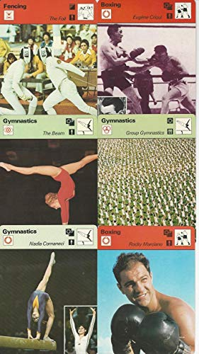 - 1977-79 Sportscaster Card, Gymnastics & Boxing Lot of 6, Comaneci, Marciano