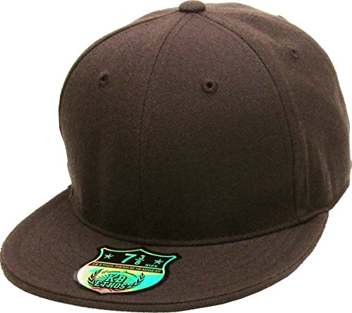 KBETHOS KNW-2364 BRN (7 3/8) The Real Original Fitted Flat-Bill Hats True-Fit, 9 Sizes & 20 Colors ()