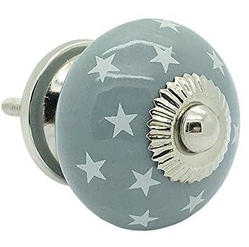 Grau Sterne rund Keramik Türknauf Vintage Shabby Chic Schrank ...