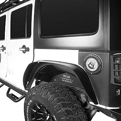 Hooke Road Jeep Wrangler JK Steel Fender Flares w/Nut Inserts for 2007-2020 Jeep Wrangler JK & Unlimited Flat Front & Rear Mud Guards 4 PCS Set: Automotive