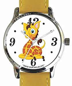 """Save Our Wildlife"" Large Polished Chrome Watch with Yellow Leather Strap has ""Giraffe"" image and Donation to the African Wildlife Foundation"