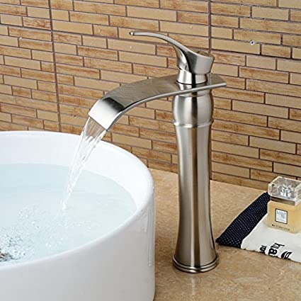 Wovier Brushed Nickel Waterfall Bathroom Sink Faucet, Single Handle ...