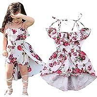 EGELEXY Kids Girls Floral Off-Shoulder Straps Dress Summer Ruffled Romper Jumpsuit Party Dress Size 6-12 Months/Tag80 (White)