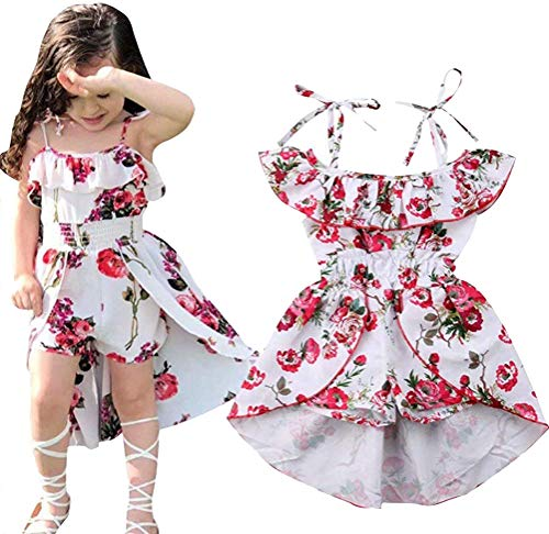 (EGELEXY Kids Girls Floral Off-Shoulder Straps Dress Summer Ruffled Romper Jumpsuit Party Dress Size 12-18 Months/Tag90)