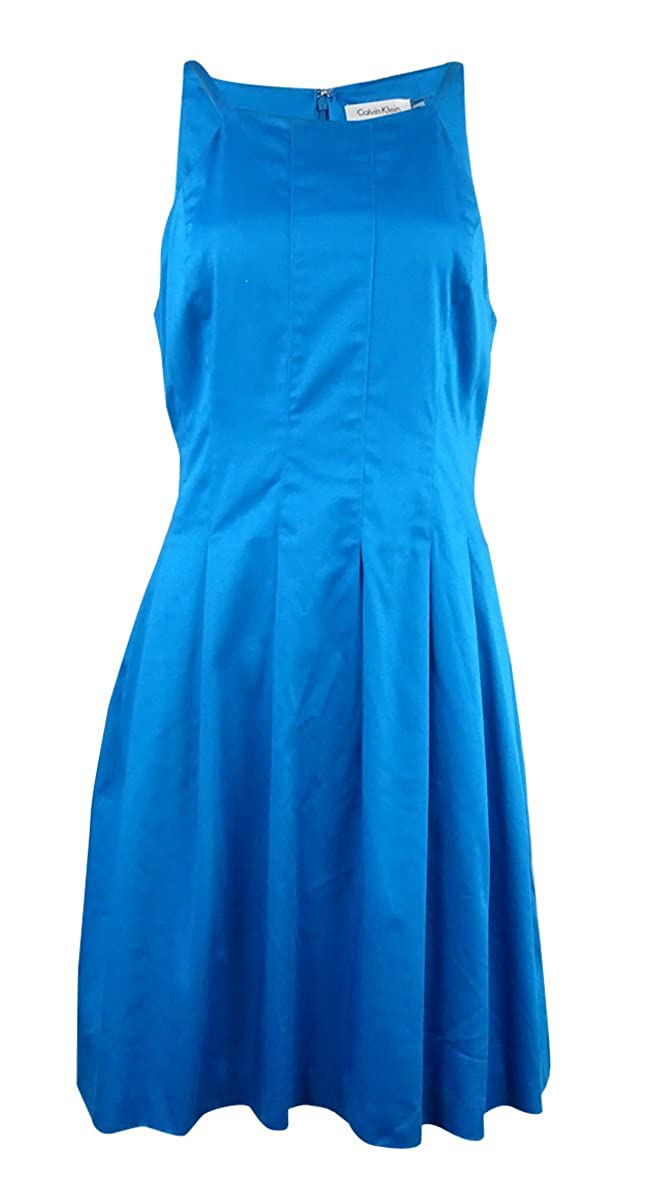Calvin Klein Women's Scuba Halter Neck Fit-and-Flare Dress Cerulean)