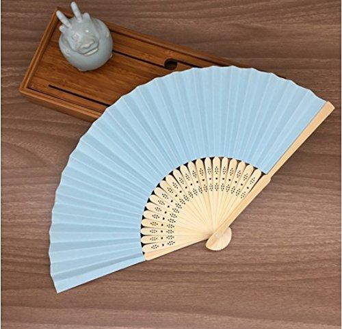 Light Blue Mulit Colors Paper Bamboo Folding Hand Fan Decoracion Fiestas Decoration Mariage Abanicos Para Boda by Hand Fan