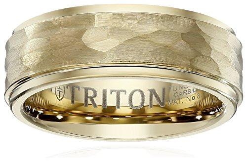 Triton Men's Yellow Tungsten 8mm Hammered Wedding Band, Size 9.5 ()