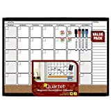 Quartet Magnetic Combination Calendar Dry Erase Board and Cork Board Value Pack, 17'' x 23'', Black Frame (44202-BK)
