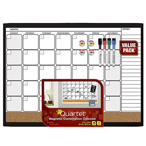 Quartet Dry Erase Cork Calendar Board Combo Value Pack, Magnetic, Black Frame (44202-BK) by Mead
