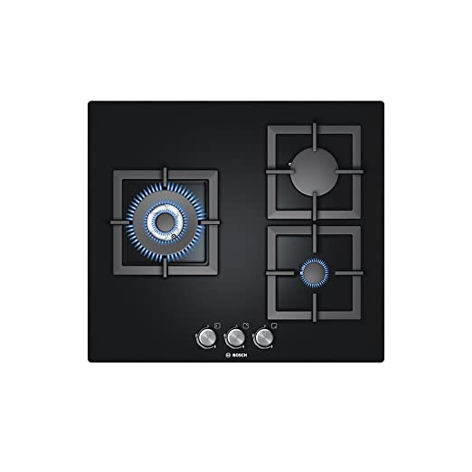 Bosch PPC616B21E PLACA DE GAS 3 QUEMADORES, WOK, PARRILLA, 3000 W, Vidrio, Negro