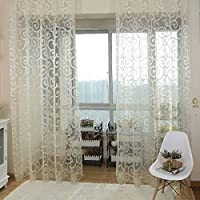 MuLuo New Floral Tulle Voile Door Scarf Valances Drape Sheer Window Curtains