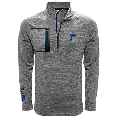 Blue Vault Navy (NHL St. Louis Blues Men's Vault Wordmark Quarter Zip Mid-Layer Apparel, Large, Heather Charcoal/Navy)