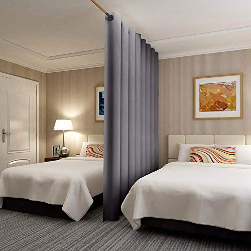 RHF Privacy Room Divider Curtain 12.5ft Wide x 8ft tall: No one can see through, Total Privacy(12.5x8 Dark Grey) (Room Shades Divider)