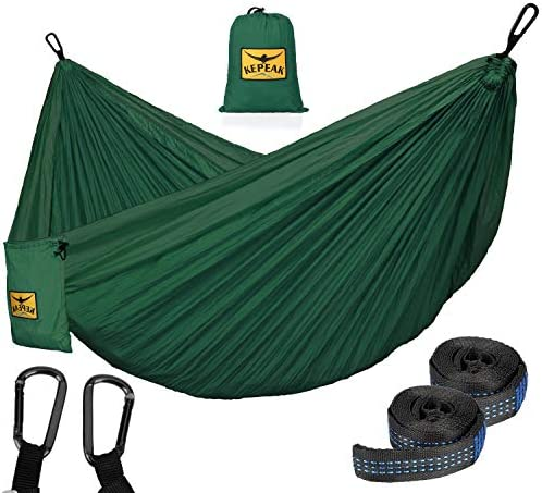 KEPEAK Camping Hammock Double Single Portable Hammocks with Tree Straps, Lightweight Nylon Parachute for Indoor Outdoor Backpacking Survival, Backyard, Patio, Travel