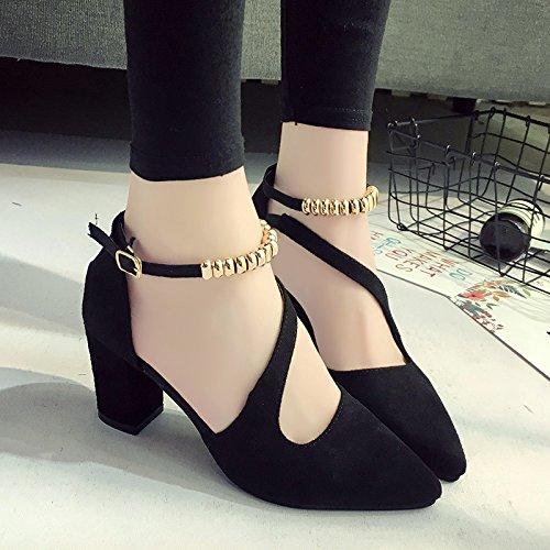 RUGAI-UE Señaló High-Heeled verano zapatos Bolsa hebilla sandalias hueco Black