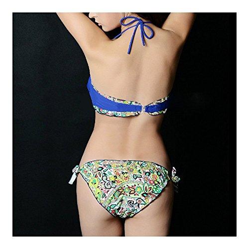 Maillot de bain Idéal pour Femme-Bikini Sexy Push up Bra -Multicolore