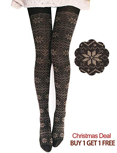DELUXSEY 2 Pairs Womens Snowflake Knitted Patterned Tights (Brown) 61741