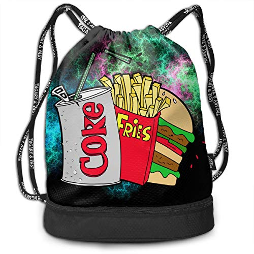 Price comparison product image Junk Food and A Diet Coke Drawstring Bag Rucksack Shoulder Bags Travel Sport Gym Bag Print - Yoga Runner Daypack Shoe Bags with Zipper and Pockets