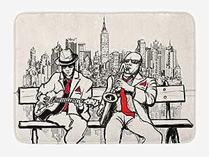 lsrIYzy - Alfombrilla de baño para hombre, diseño de música en Nueva York en la noche, estilo retro, impresión de ilustración, felpa, decoración de baño con respaldo antideslizante, 60 x 40 cm, color rojo y negro