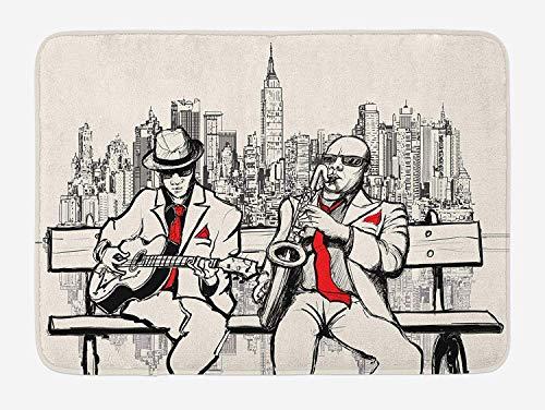 (Weeosazg Music Bath Mat, Jazz Men Band Playing Beats in New York at Night Retro Style Illustration Print, Plush Bathroom Decor Mat with Non Slip Backing, 31.5 X 19.7 Inches, Red Black Ecru)