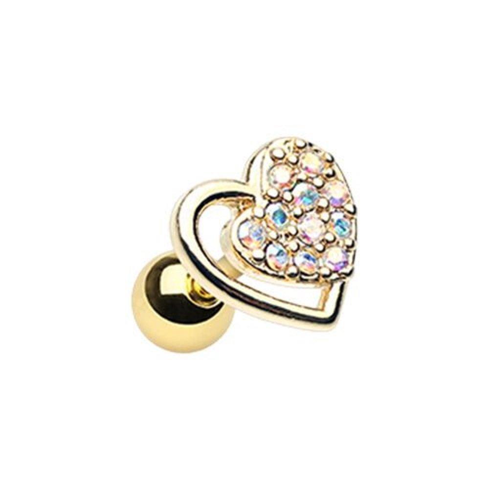 Golden Dreamy Heart WildKlass Cartilage Tragus Earring