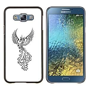 TECHCASE---Cubierta de la caja de protección para la piel dura ** Samsung Galaxy E7 E700 ** --Pájaro de Fuego Decal Minimalista Blanca