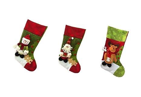 Set 3pcs calcetines de Navidad Papá Noel reno muñeco de nieve decoración de techo para Navidad