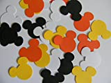 100 candy corn colors Mickey Mouse head 1 inch die cuts Halloween party decor scrapbooking confetti