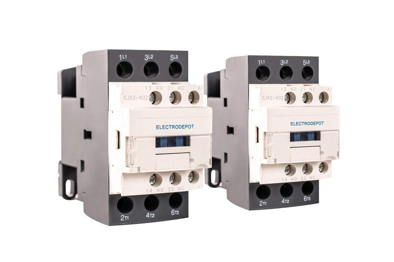 Electrodepot 30 Amp 3 Pole Normally Open IEC 660V Contactor, Auxiliary 1NO-1NC – 110-120VAC Coil, Inductive 32A, Resistive 50A with Mounting Base for DIN Rail (Pack of 2)