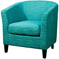 New Pacific Direct Sheri Fabric Tub Chair,Black Legs,Topaz Blue