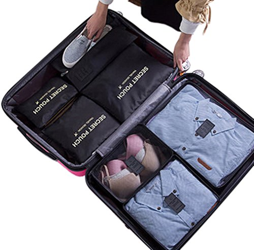 7Pcs Waterproof Travel Storage Bags Clothes Packing Cube Luggage Organizer Pouch(Black)
