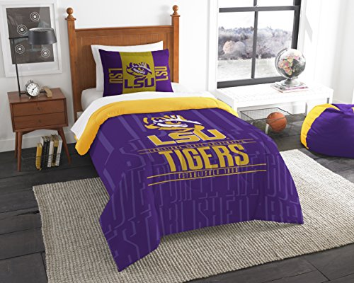 y Officially Licensed NCAA LSU Tigers Modern Take Twin Comforter and Sham (Lsu Tigers Sham)