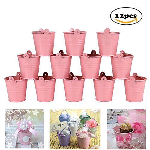 ni Metal Bucket Candy Favours Box Pail Wedding Party Gift / Serving Bucket, Chip Bucket, Condiment Packet Holder, Ash Tray Bucket (Pink) (Pink Mini Pails)