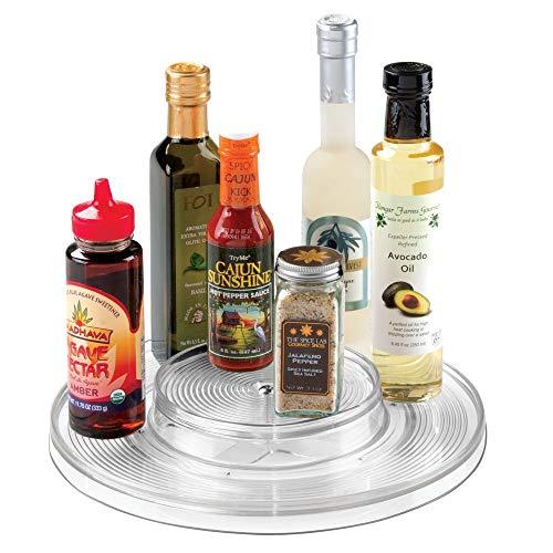 Photo Carousel Revolving Holder - mDesign Plastic Spinning 2 Tier Lazy Susan Turntable Food Storage Bin - Rotating Organizer for Kitchen Pantry, Cabinet, Refrigerator or Freezer - 11