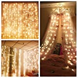 Curtain String Lights,Ollny 300 LED Window Curtain Icicle Starry Lights for Christmas Wedding Party Backdrops Home Outdoor Decorative Lights 3m x 3m (Warm White Low Voltage) …
