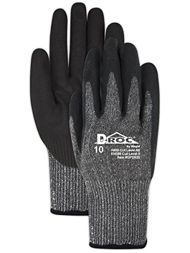 Magid Cut Resistant Black Nitrile Coated Work Gloves | EN388 Level 5 Cut Gloves with Enhanced Grip & Touch Screen Fingers - Size 8 (1 Pair) ()