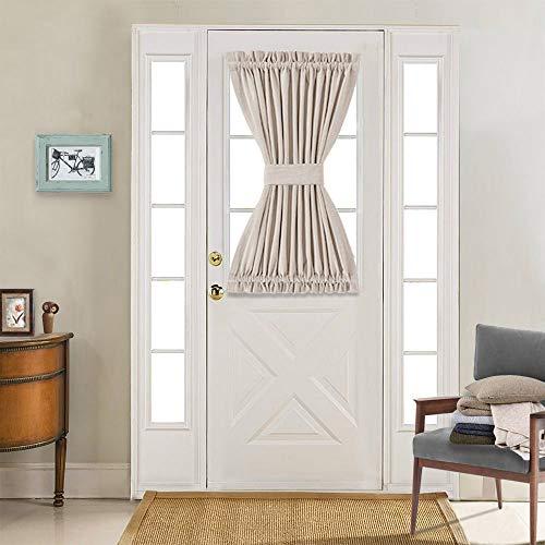 jinchan French Door Curtain Linen Look Blackout Curtain 40 inch Long One Piece Beige (Front Door Drapes)