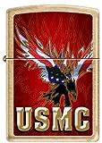 US Marine American Flag Eagle USMC Brass Military Gold Dust Zippo Lighter New