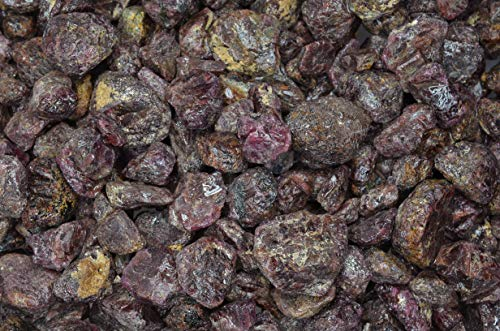 Fantasia Materials: 1 lb of Red Garnet Chunk Rough Stones from Brazil - Natural Rocks for Tumbling, Home Décor, Wire Wrapping, Cutting, Lapidary, Reiki, Energy Crystal Healing and - Red Fantasy Glass