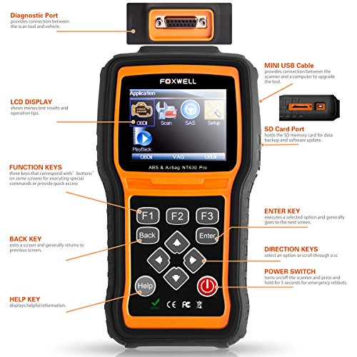 FOXWELL NT630 Scan Tool Engine / ABS / Airbag / SAS Crash Data Reset Tool  Code Reader Car Diagnostic Scanner by FOXWELL (Image #1)'