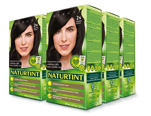 (Naturtint Permanent Hair Color, 2N Brown Black Color, Intense and Radiant - 6 Pack)