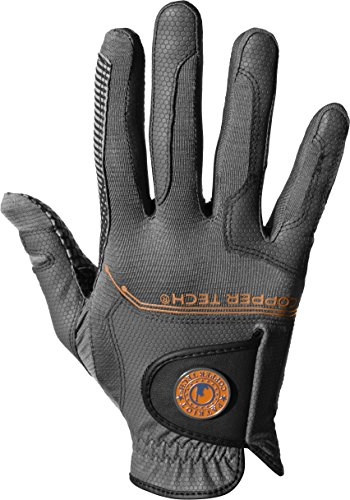 Copper Tech Gloves Men's Golf Glove with Spider Tacky Grip, One Size, Charcoal/Gray (Worn on Left - Glove Mens Gray