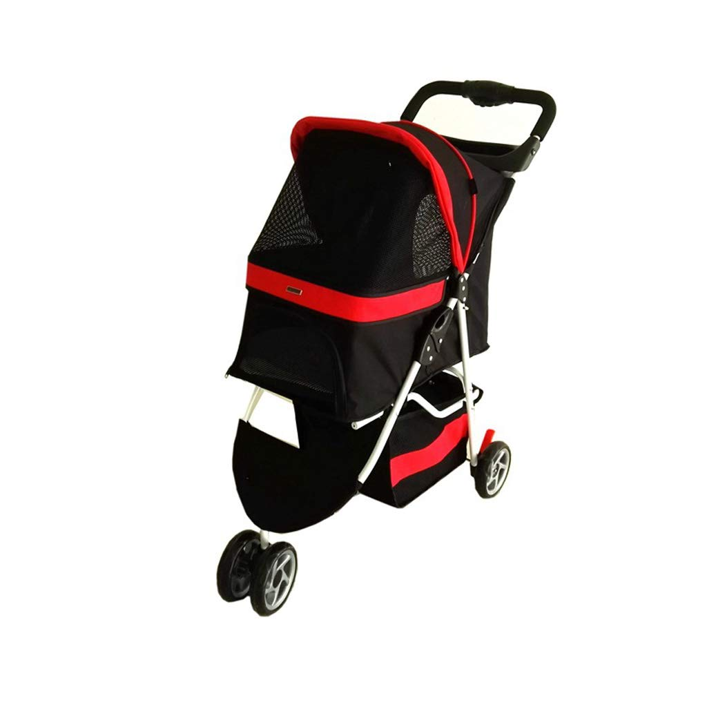 RED YAGEER chunwubao Pet car, dog or cat luxury 3 round pet stroller, easy folding travel pet car, suitable for 10kg pets