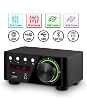 Nobsound 100W Mini Bluetooth 5.0 Power Amplifier Hi-Fi Stereo Class D Audio Amp 2.0 Channel Wireless Receiver Lossless Music Player TF USB Home Speaker (Black)