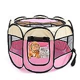 Petoice 2-Door Foldable Portable Waterproof Pet Playpen Kennel Exercise Pens for Dogs Cats Rabbits Outdoor Indoor,Pink,S(28.3''L x 28.3''W x 17.7''H)